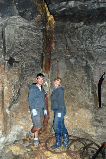 Chris & Alex at the Yogo Sapphire Vein deep underground
