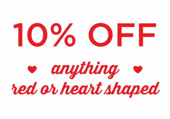 10% off red or heart shaped